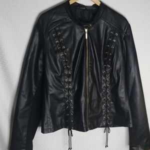 Lane Bryant faux leather jacket w/ lace up accents
